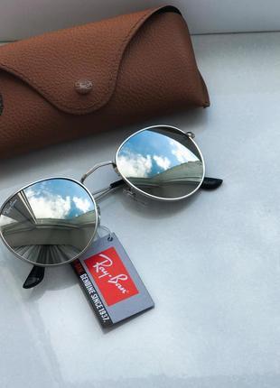 Круглые очки ray ban серебро