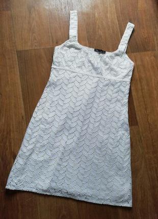 Zara шикарный батистовый, кружевной сарафан, сарафанчик, плаття, платье, сукня, прошва