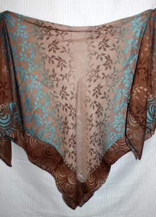 Платок коричнево бирюзовый прозрачный с принтом nisa sport 95х95см