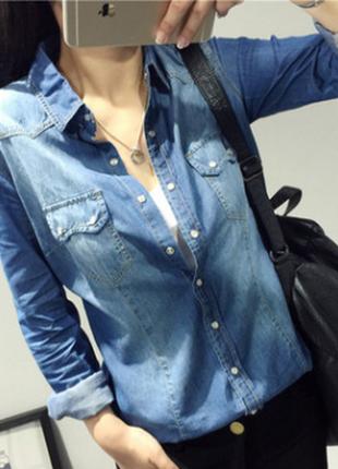 f354c632d581ec6 ... Приталенная женская джинсовая рубашка3 фото. Приталенная женская  джинсовая рубашка