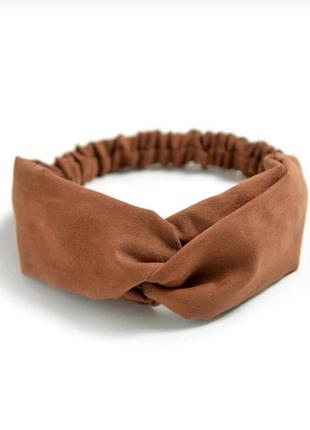 Повязка на голову чалма платок на волосы обруч узел ободок тюрбан коричневая новая