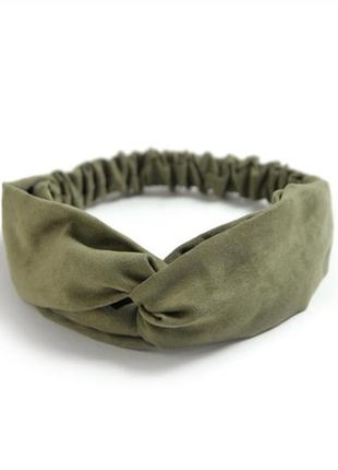 Повязка на голову чалма платок на волосы обруч узел ободок тюрбан фисташка