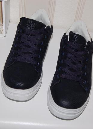 Кроссовки туфли синие 39-40 р 25.5 см