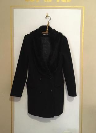 Срочно! переезд! шикарное шерстяное двубортное пальто с мехом naf naf рр m-l