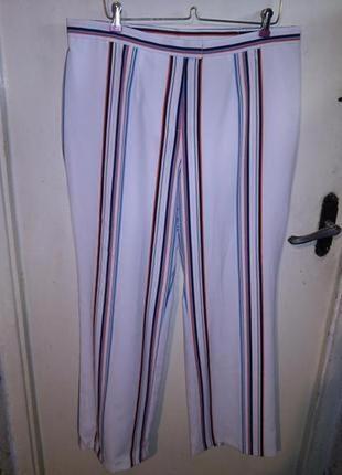 Шикарные,белые брюки в разноцветную полоску,высокая посадка,большого размера,германия