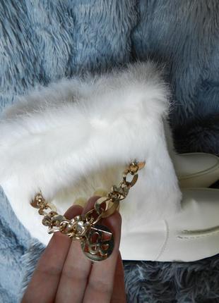 ✅ белоснежные ботинки зима опушка натуральный мех кролик