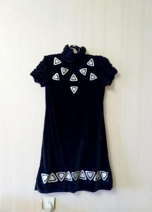Бархатное черное платье