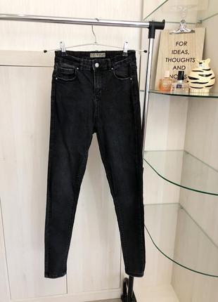 Черно-серые скинни джинсы от denim co на высокой посадке