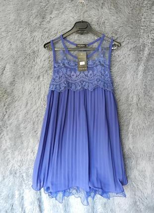 ✅ яркое платье шифон плисе с воланом из сетки и вышивкой