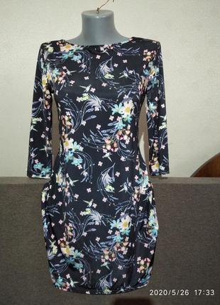 Классное эластичное платье в цветочный принт atmosphera (uk 12)