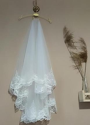 Фата свадебная, машинная вышивка, фаты, кружево