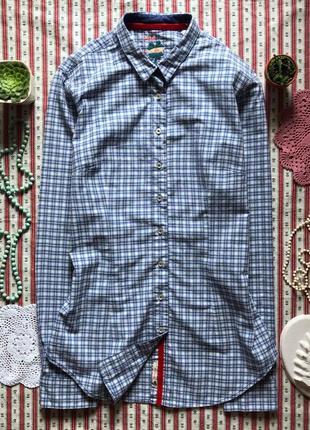 Шикарная оригинальная рубашка в клетку с вышивкой размер м
