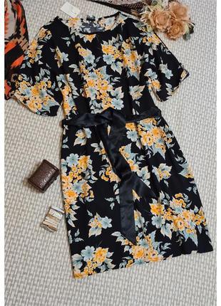 Платье peacocks с разрезами на рукавах/цветочный принт