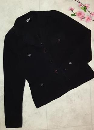 1+1=3 стильный черный пиджак logo с вышивкой весенняя куртка демисезон, размер 46 - 48