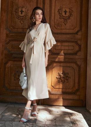 Льняное платье кардиган на запах с рюшами