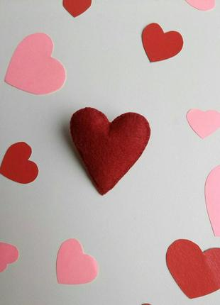 Брошка серце, валентинка, брошь сердце, сердечко, подарок, бордовая, пин, значок!