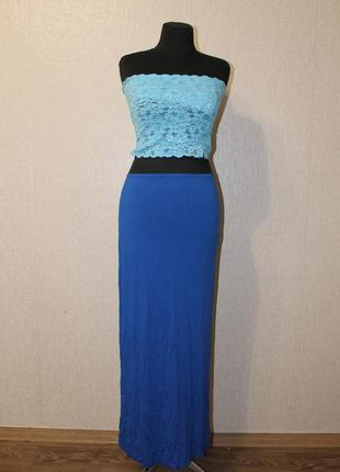 Синяя юбка в пол,р.xs-s