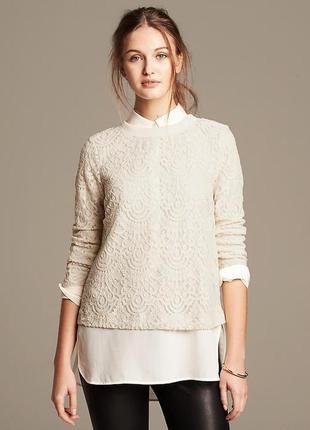 Брендовый пуловер из кружева кремового цвета