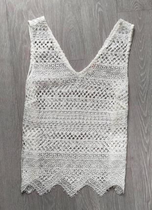 Ажурная блуза белая