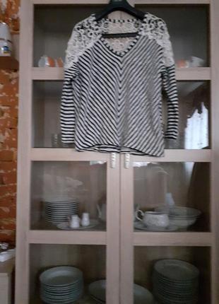 Очаровательный котоновый с кружевом пуловер большого размера
