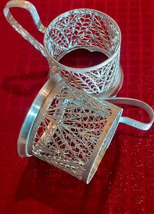 Набор подставок для стаканов мельхиоровый