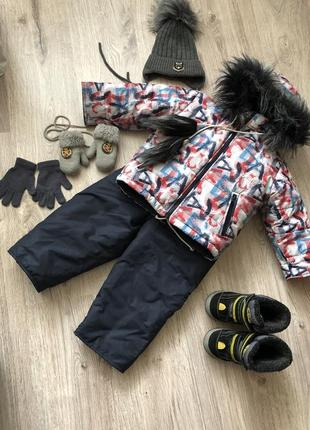 Зимний тёплый комбинезон на мальчика куртка костюм 92-98 рост 2-3 года