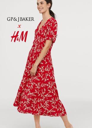 Эксклюзивная коллекция редкое платье миди из вискозы цветочный принт h&m х gp & j baker