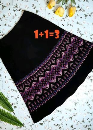 🌿1+1=3 фирменная черная юбка миди с вышивкой микровельвет monsoon, размер 46 - 48