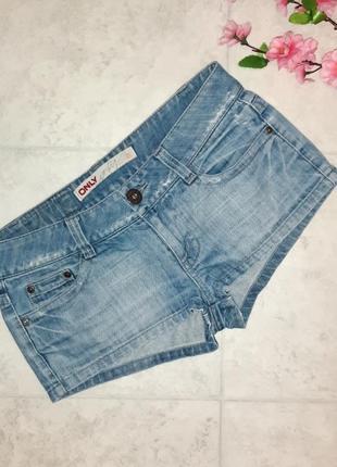 1+1=3 стильные короткие джинсовые шорты с вышивкой only, размер 44 - 46