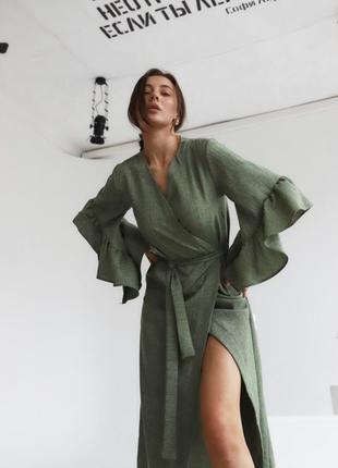 Льняное платье кардиган хаки, зеленое на запах