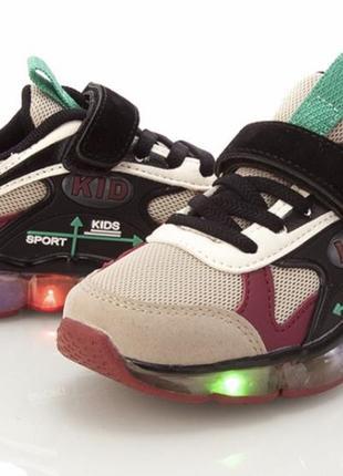 Детские легкие летние кеды кроссовки мальчику или девочке светятся при хотьбе