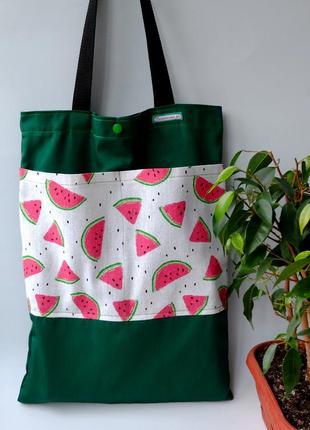 Эко сумка для покупок с арбузами, сумка пакет, эко торба, сумка шоппер 52 (1)