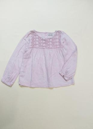 Пудровая льняная блуза блузка рубашка next 5-6 лет 116 см