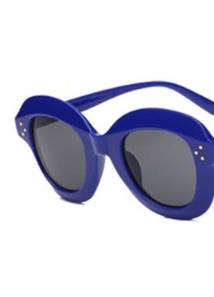 Уценка! синие женские солнцезащитные очки гранды массивная оправа новинка