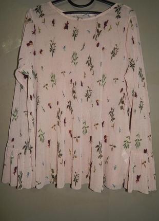 Блузка кофта лето 2020 в мелкий рубчик принт цветы