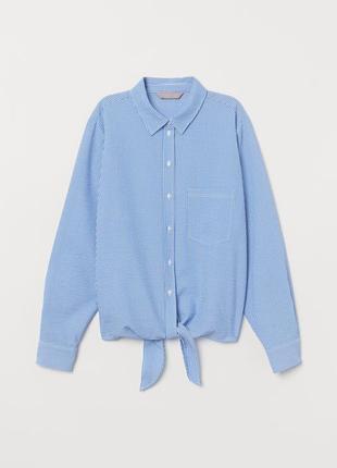 Крутая рубашка в полоску с завязками в низу oversize размер 16-20 (48-52)