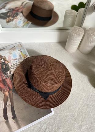 Соломенная шляпа канотье - цвета шоколад