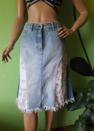 Винтажная джинсовая юбка трапеция
