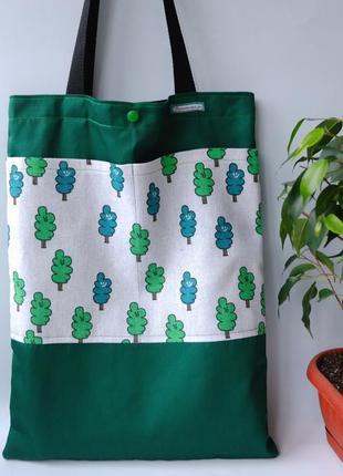 Эко сумка для покупок с деревьями, сумка пакет, эко торба, сумка шоппер 52 (2)