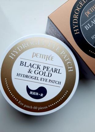 Гидрогелевые патчи с чёрным жемчугом petitfee black pearl & gold hydrogel eye patch