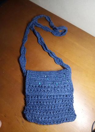 Летняя маленькая сумочка через плечо из рафии синяя