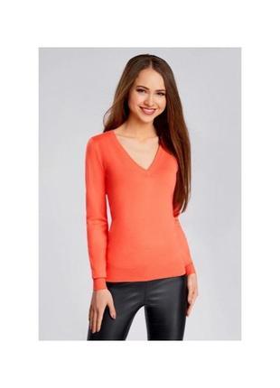 Оранжевый джемпер zara пуловер кофта с длинным рукавом v вырез коралловая