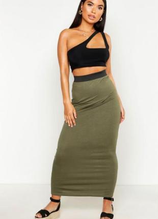 Трикотажная макси юбка boohoo, хаки, размер m-l