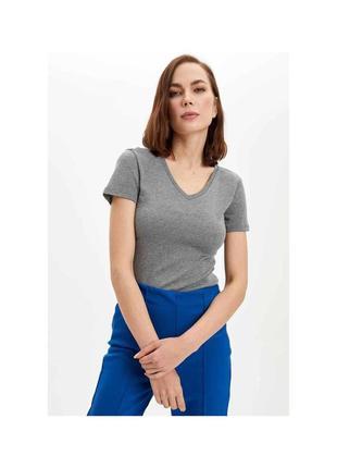 Серый пуловер с коротким рукавом кофта с v вырезом женская джемпер