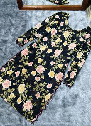 Хлопковая удлиненная блуза туника с цветочным принтом