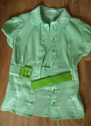 Салатовая фирменная блузочка, рубашка