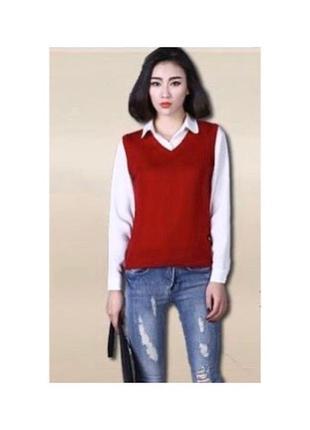 Красный джемпер женский без рукавов бордовый пуловер v вырез