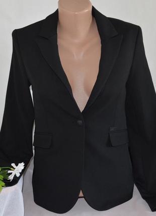 Брендовый черный пиджак жакет блейзер с карманами mos mosh турция вискоза2 фото