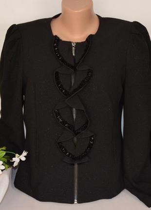 Черный пиджак жакет куртка на молнии с карманами morgan вискоза переливается этикетка