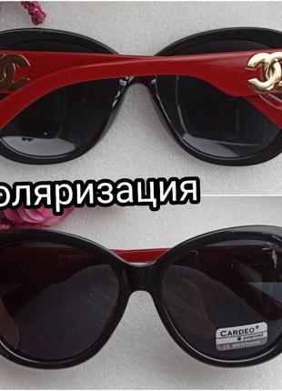 Новые солнцезащитные очки с поляризацией, с блеском на дужках, черные, с красными дужками